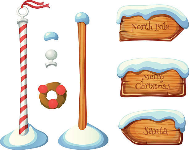 Wooden sign post elements Wooden sign post elements. Christmas set. EPS 10. Transparency. Gradients. north pole stock illustrations