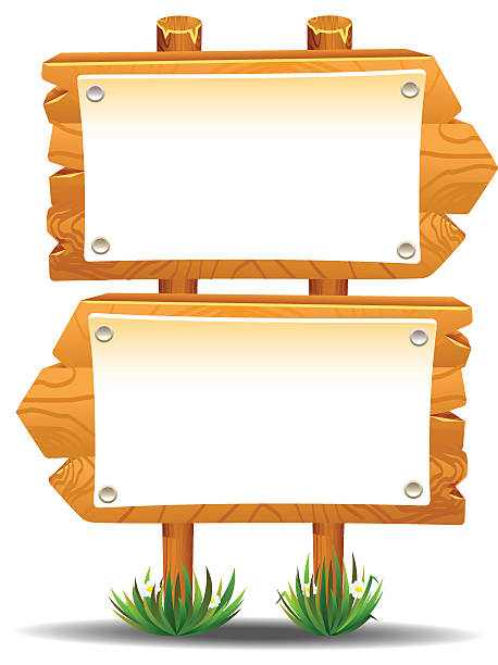 Wooden sign post icon symbol label vector art illustration