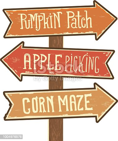 Vector illustration of a Wooden sign post with arrows pointing to Pumpkin Patch, Apple Picking and Corn Maze