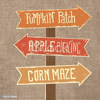 Vector illustration of a Wooden sign post with arrows pointing to Pumpkin Patch, Apple Picking and Corn Maze on burlap background texture.