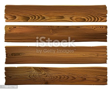Wooden sign. Realistic highly detailed vector dark brown wooden grunge tattered texture background. Hand drawn, no tracing