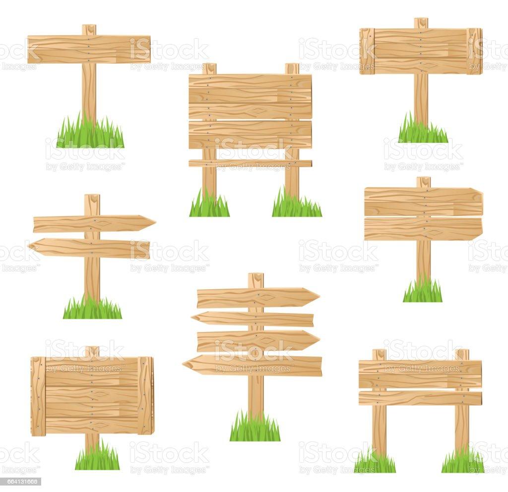 Wooden Sign Standing in Green Grass. wooden sign standing in green grass - immagini vettoriali stock e altre immagini di affari royalty-free
