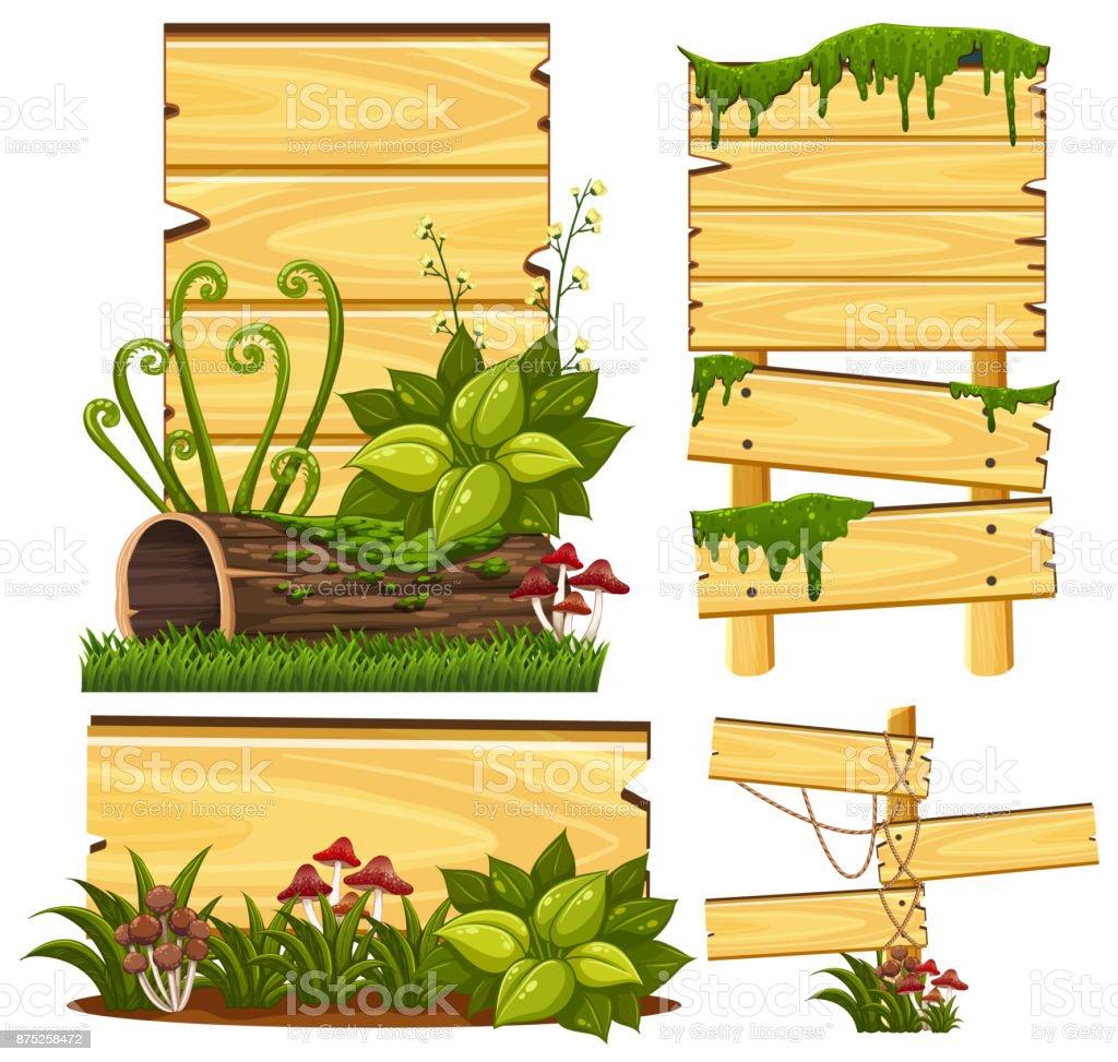 Modelo de placa de madeira com musgo e cogumelos - ilustração de arte em vetor