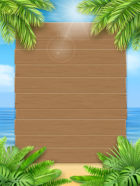 Wooden sign tropical leaves sea beach Wooden sign and tropical leaves on a background of a sea beach. Background for an invitation to a summer party or an advertising poster for discounts. A design template for the vacation offer. beach borders stock illustrations