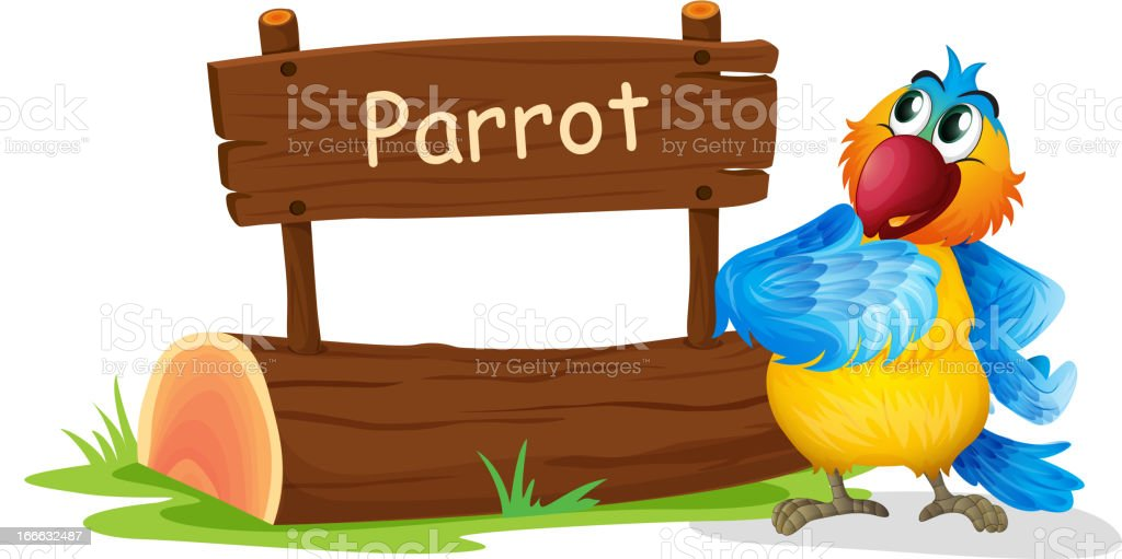 Wooden signage with a colorful bird royalty-free wooden signage with a colorful bird stock vector art & more images of advertisement