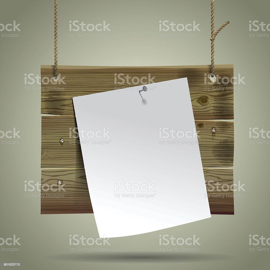 Wooden signboard suspended on a rope with a white paper sheet. vector art illustration