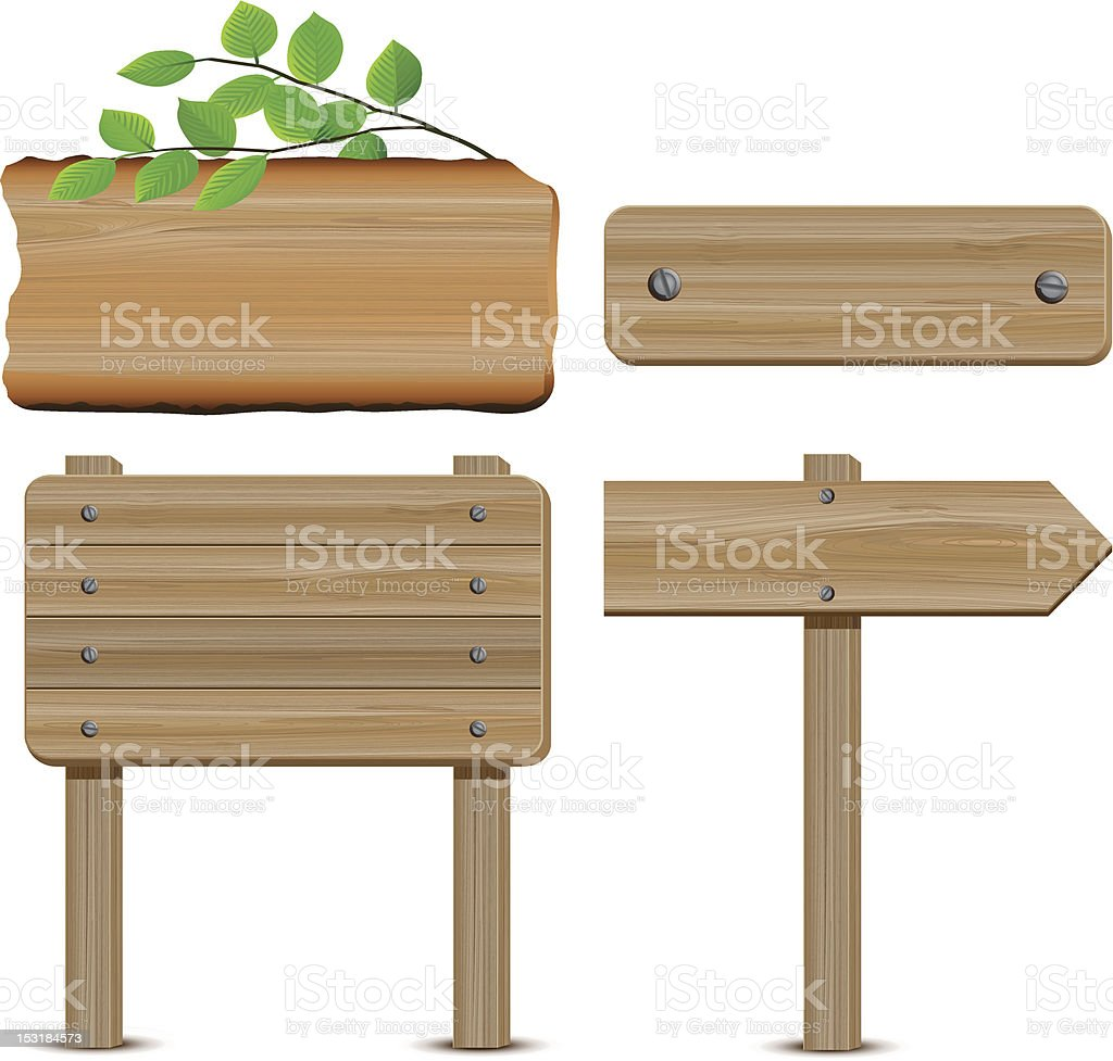 Wooden Signboard vector art illustration