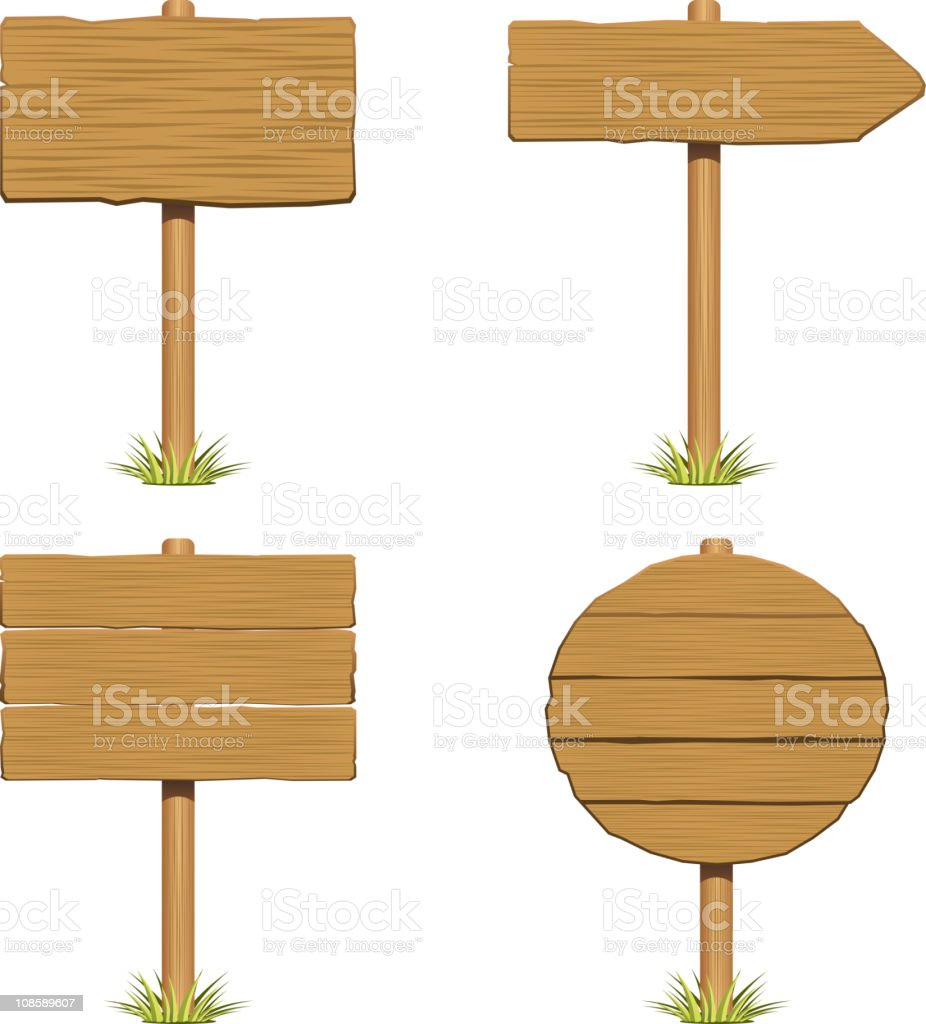 wooden signboard with grass vector art illustration