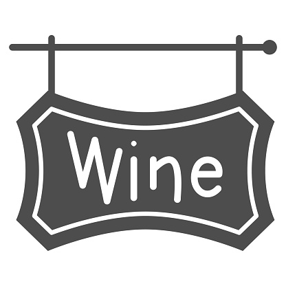 Wooden signboard with text Wine solid icon, Wine festival concept, hanging wine board sign on white background, Winery street banner icon in glyph style for mobile. Vector graphics.