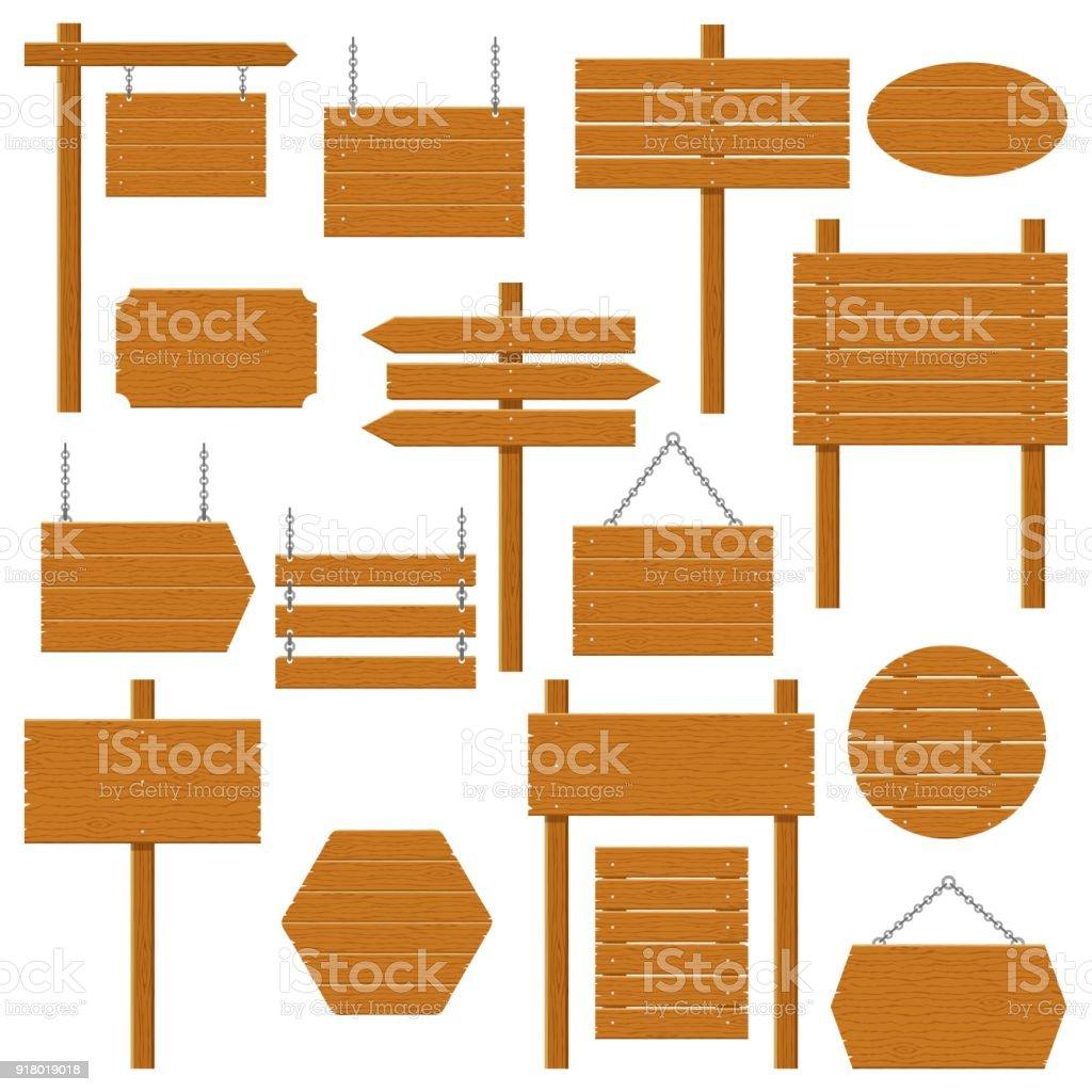 Enseignes en bois et bois planche ensemble isolé sur fond blanc. Signes et symboles de communiquer un message sur la rue ou route, emblèmes, signages. Modèle de bannière avec la texture du bois. Vector - Illustration vectorielle