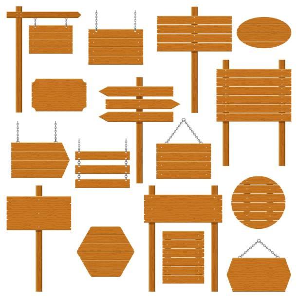 stockillustraties, clipart, cartoons en iconen met houten uithangborden en hout plank set geïsoleerd op een witte achtergrond. tekens en symbolen om een boodschap op de straat of weg, emblemen, signages te communiceren. sjabloon voor spandoek met houtstructuur. vector - wegwijzer bord