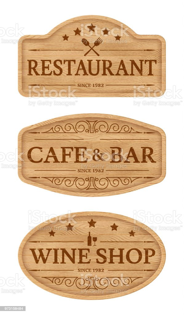 Wooden Signboards For Outdoor Advertising Stock Illustration