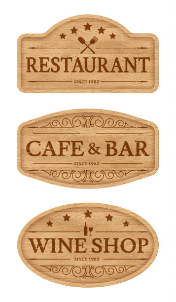 Wooden signboards for outdoor advertising. Wooden signboards with text scorched on wood. Design elements for outdoor advertising: bar, pub, cafe. Eps10 vector cutting board stock illustrations