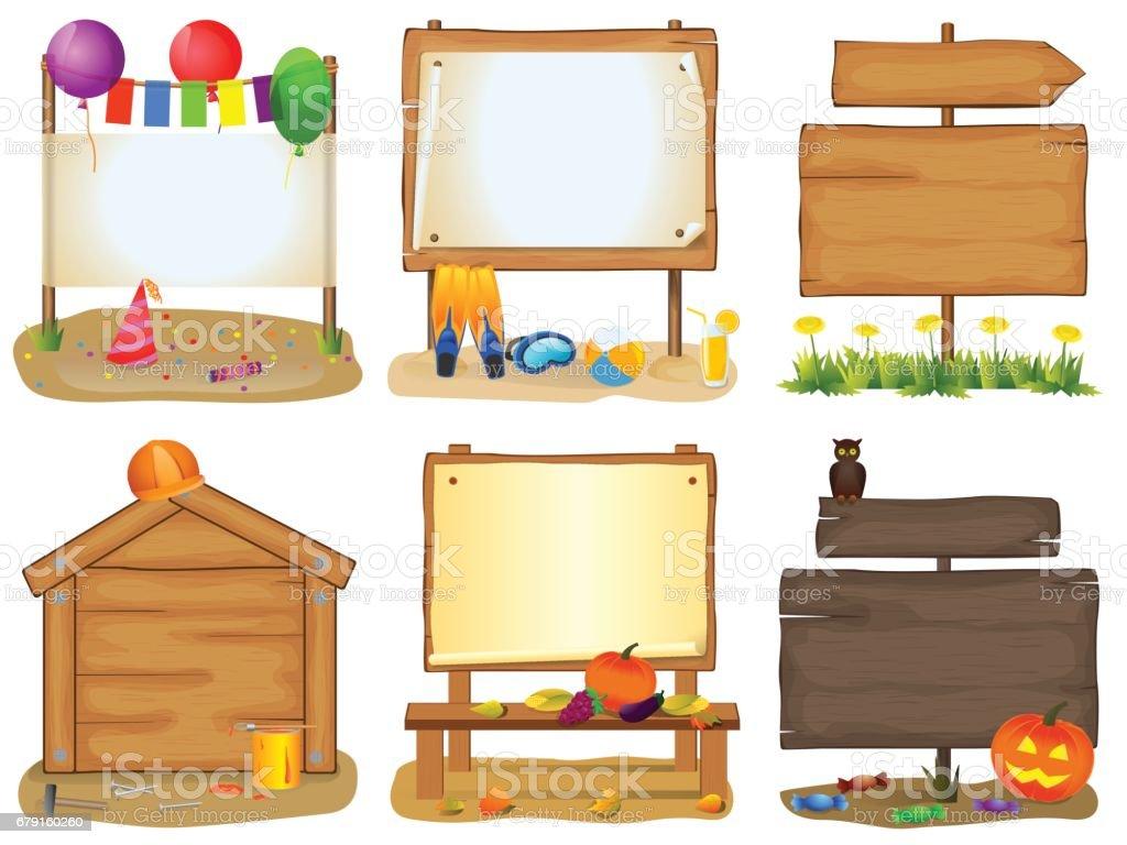 Ensemble de panneaux en bois ensemble de panneaux en bois – cliparts vectoriels et plus d'images de affiche libre de droits