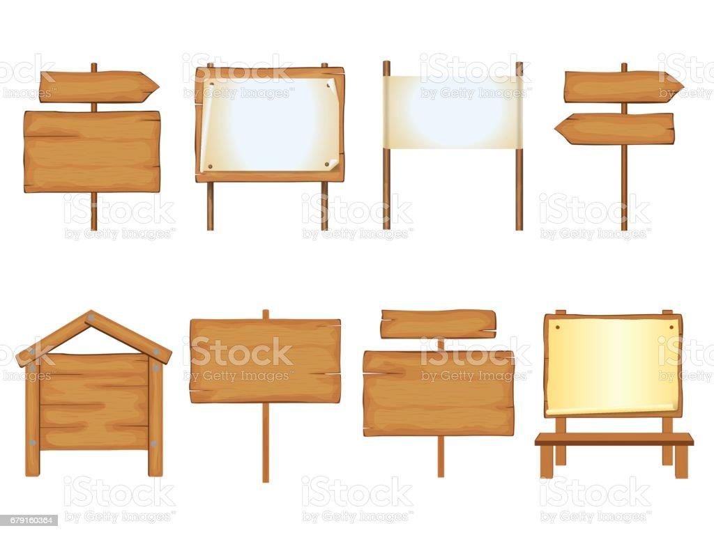 Ensemble de panneaux en bois - Illustration vectorielle