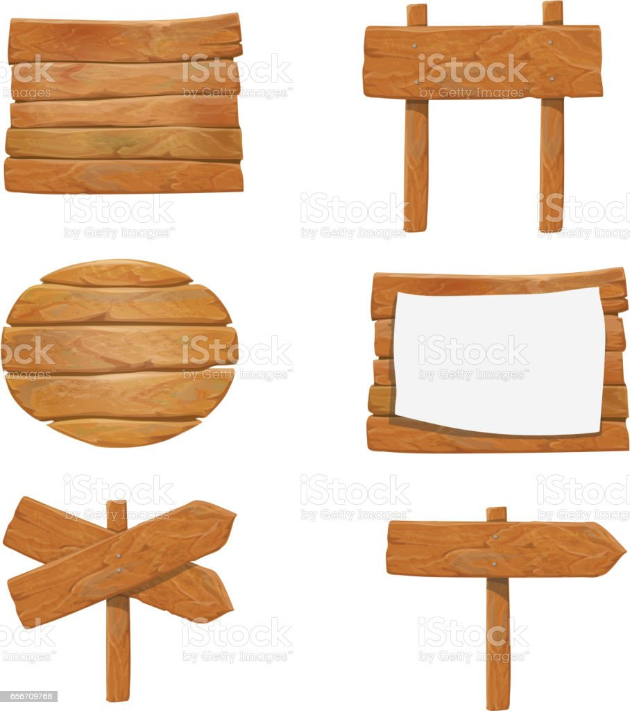 Hölzerne Schilder Vektor Holz Pfeil Schild Plakatset Stock Vektor
