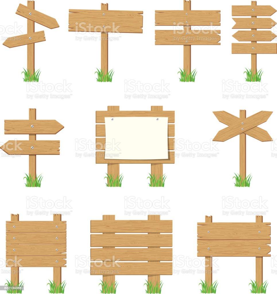 Wooden signboards, wood arrow sign set.