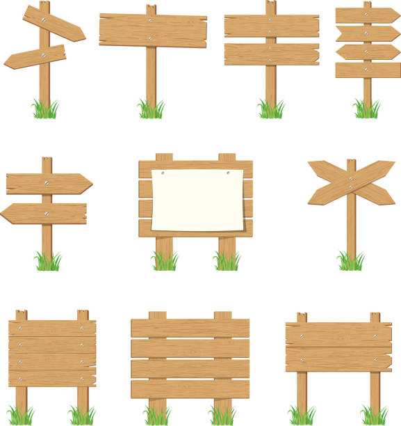 ilustraciones, imágenes clip art, dibujos animados e iconos de stock de letreros de madera, madera flecha signo conjunto. - señal