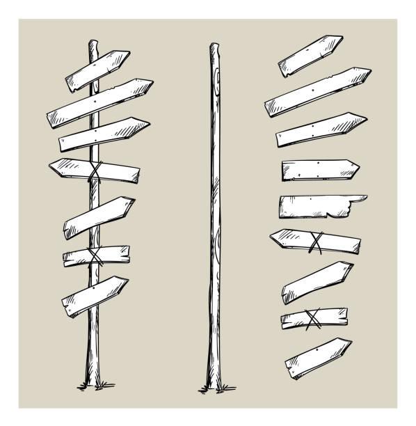 木路標與箭頭, 向量例證 - 方向標誌 幅插畫檔、美工圖案、卡通及圖標