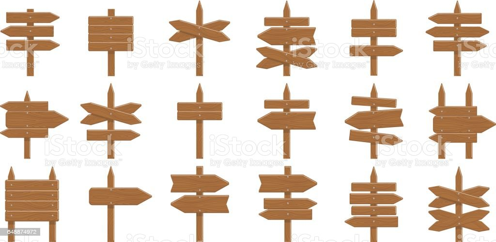 Wooden signs set on white background. vector art illustration