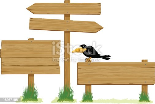 Collection of three wooden signs, of varying shapes and sizes, one with a crow perched on top. Artwork on editable layers, crow can be easily removed. Download includes an AI8 EPS vector file and a high resolution JPEG file (min. 1900 x 2800 pixels).