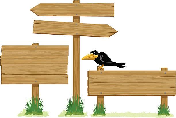 stockillustraties, clipart, cartoons en iconen met wooden signs - wegwijzer bord