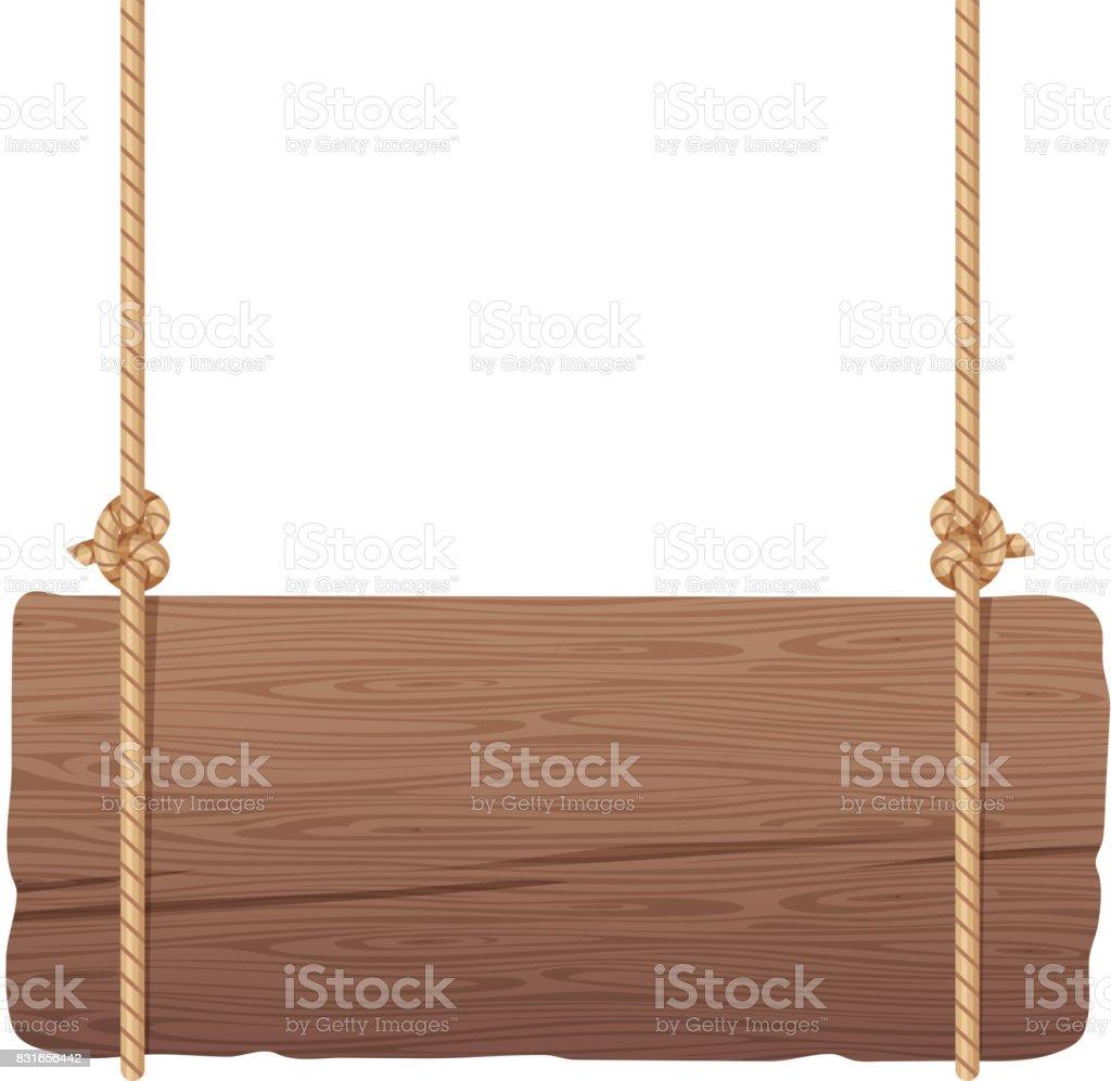 Wooden singboard hanging on ropes vector art illustration