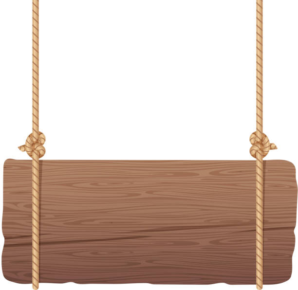 wooden singboard hanging on ropes - transparent stock illustrations