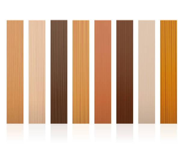 listwy drewniane. kolekcja desek drewnianych, różne kolory, glazury, tekstury z różnych drzew do wyboru - brązowy, ciemny, szary, jasny, czerwony, żółty, pomarańczowy modele wystroju - wektor na białym tle. - drewno tworzywo stock illustrations