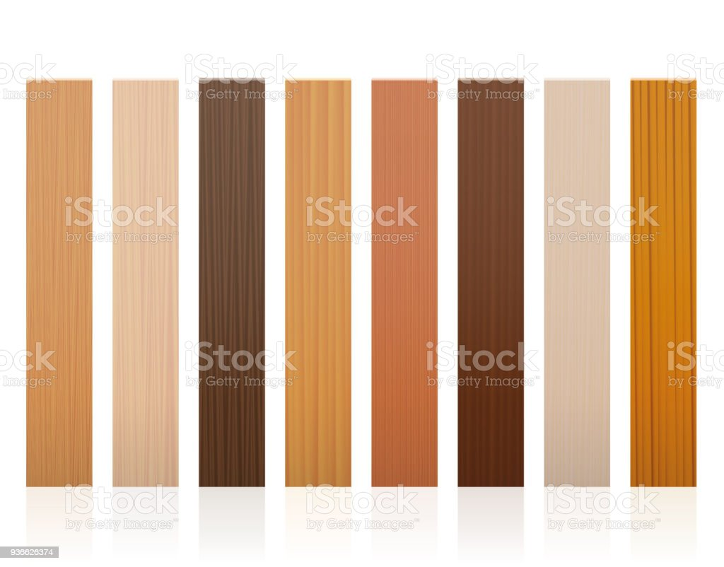 Wooden slats. Collection of wood boards, different colors, glazes, textures from various trees to choose - brown, dark, gray, light, red, yellow, orange decor models - vector on white background. vector art illustration