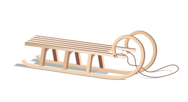 Wooden sled isolated on white. Wooden sled isolated on white. Vector illustration sled stock illustrations