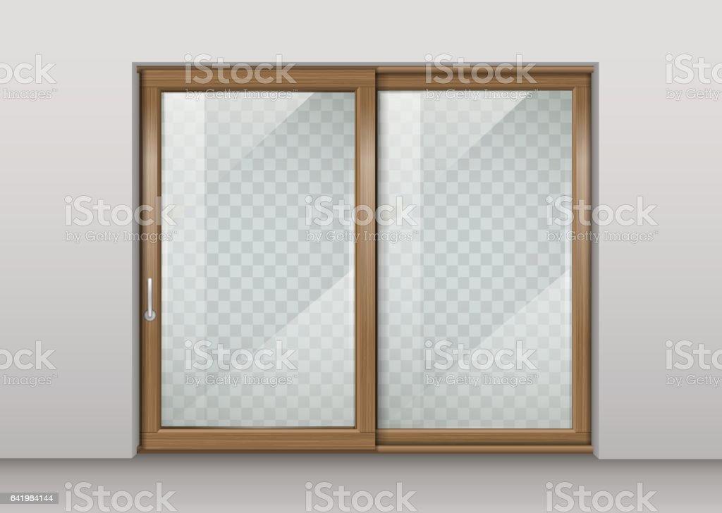 Puerta deslizante de madera - ilustración de arte vectorial