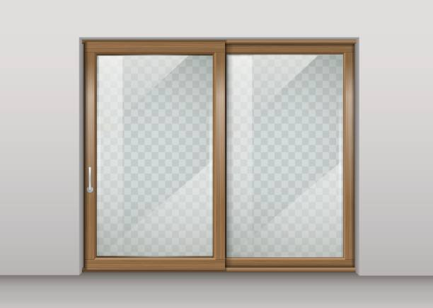 Wooden sliding door vector art illustration