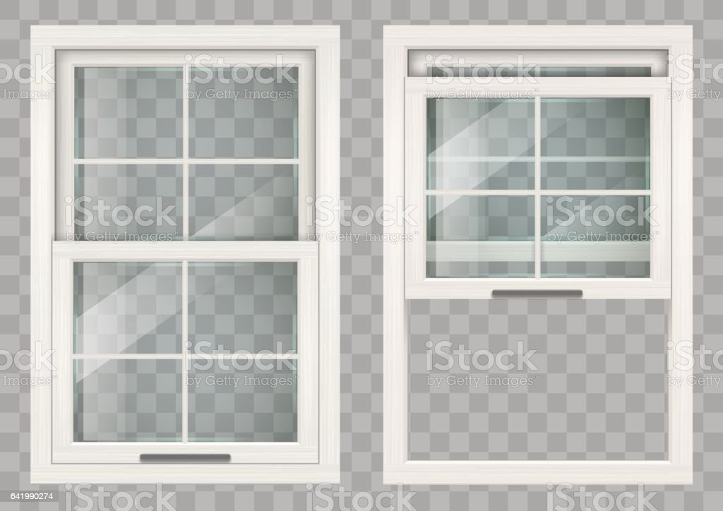 Wooden Sliding window vector art illustration
