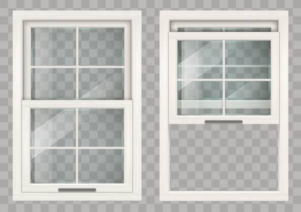 stockillustraties, clipart, cartoons en iconen met houten schuifraam - raam