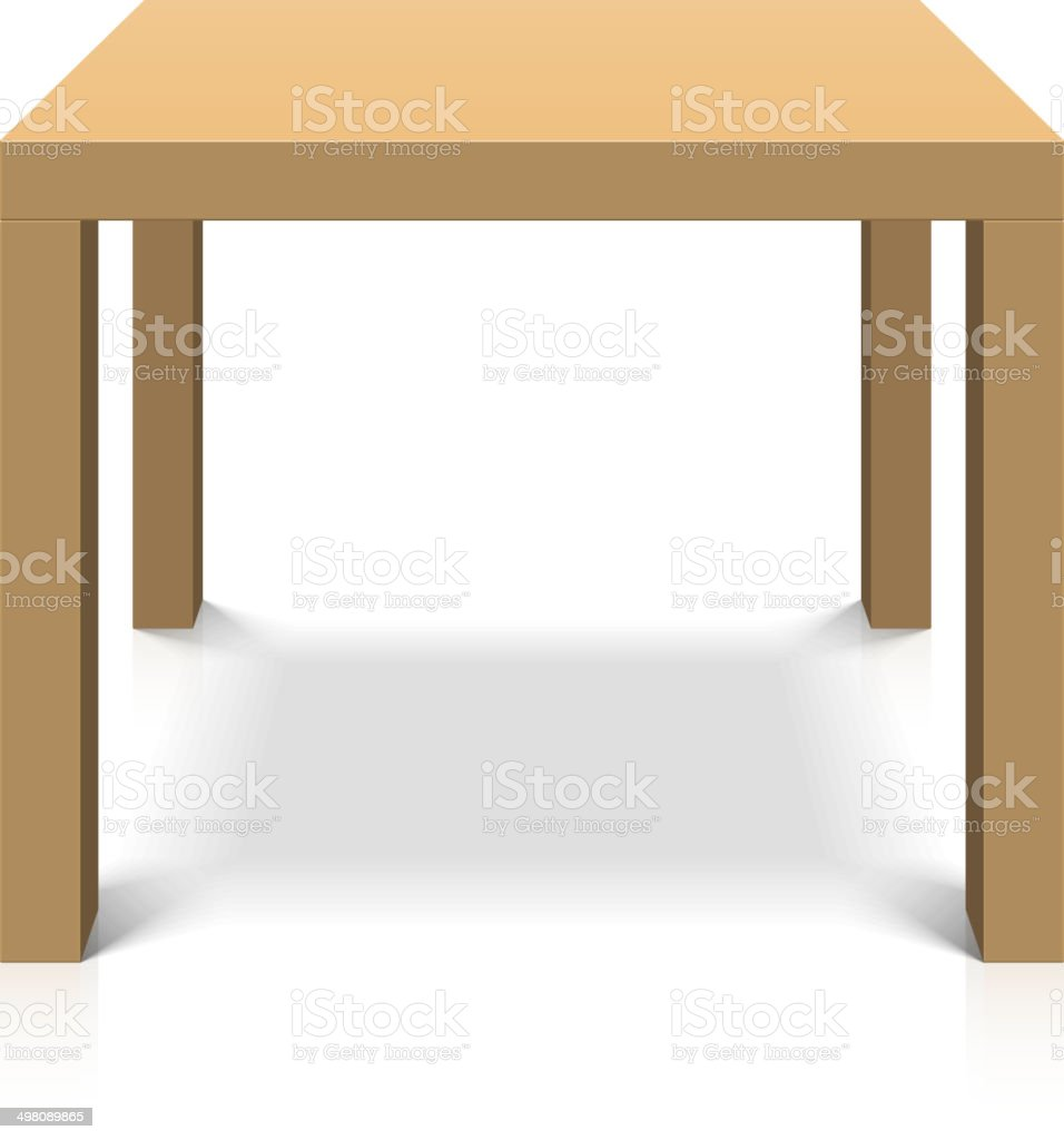 Wooden square coffee table vector art illustration