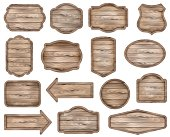Wooden stickers, label collection. Set №8 of various shapes wooden sign boards for sale, price and discount banners, badges isolated on white background. Vector realistic illustration.