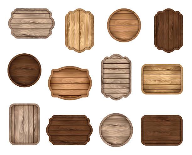 wooden stickers, label, sign board, badge, banner vector collection. - buchenholz stock-grafiken, -clipart, -cartoons und -symbole