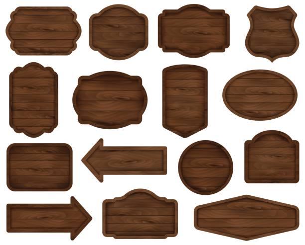 hölzerne aufkleber, etikett, schild board kollektion. - buchenholz stock-grafiken, -clipart, -cartoons und -symbole