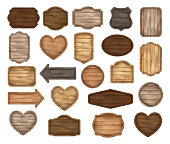 Wooden stickers, label collection. Set of various shapes wooden sign boards for sale, price and discount banners, badges isolated on white background. Vector realistic illustration. Heart wooden label