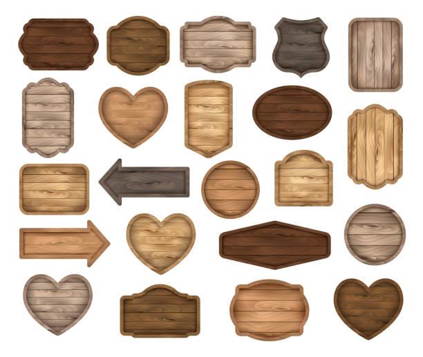 ilustrações de stock, clip art, desenhos animados e ícones de wooden stickers, label, tag, badge, table, sign, banner realistic vector set. - madeira