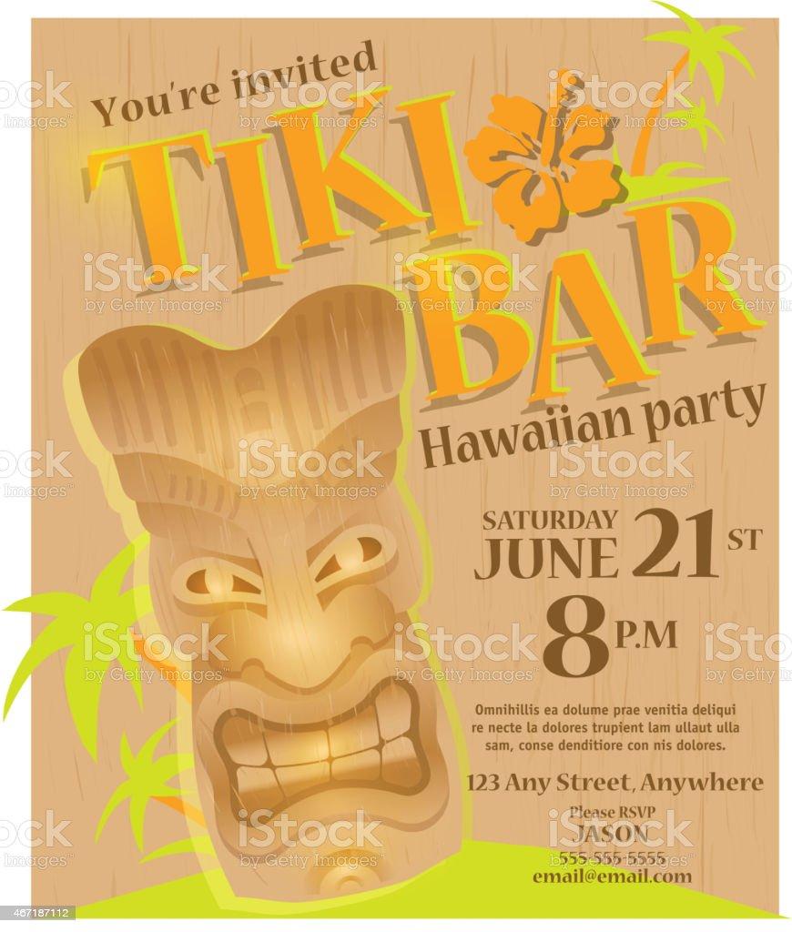 Wooden summer tiki bar hawaiian party invitation poster design wooden summer tiki bar hawaiian party invitation poster design template royalty free stock vector art stopboris Gallery