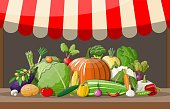 Wooden supermarket shelf with vegetables. Market stall with awning. Fresh organic food products. Cucumber tomato pumpkin garlic onion carrot corn pepper. Vector illustration in flat style