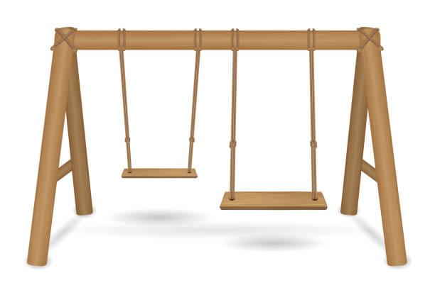 ilustrações de stock, clip art, desenhos animados e ícones de wooden swing vector on a white background - balouço
