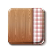 Dining table top view. Wooden table half covered with a checkered tablecloth. Checkered cooking tablecloth and wooden board. Vector illustration