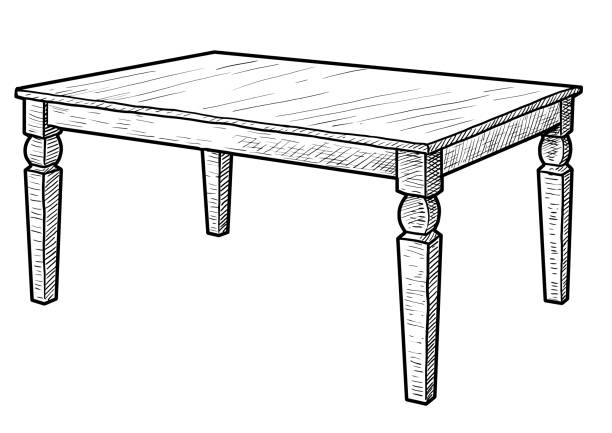 Line Art Table : Royalty free empty desk clip art vector images