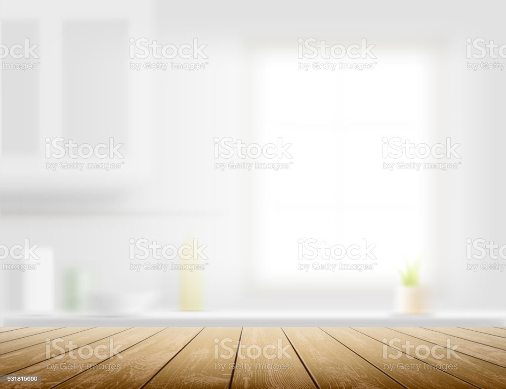 Wooden table on a kitchen background vector art illustration