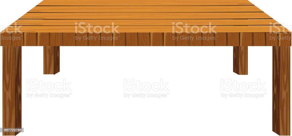 Wooden table on white background vector art illustration
