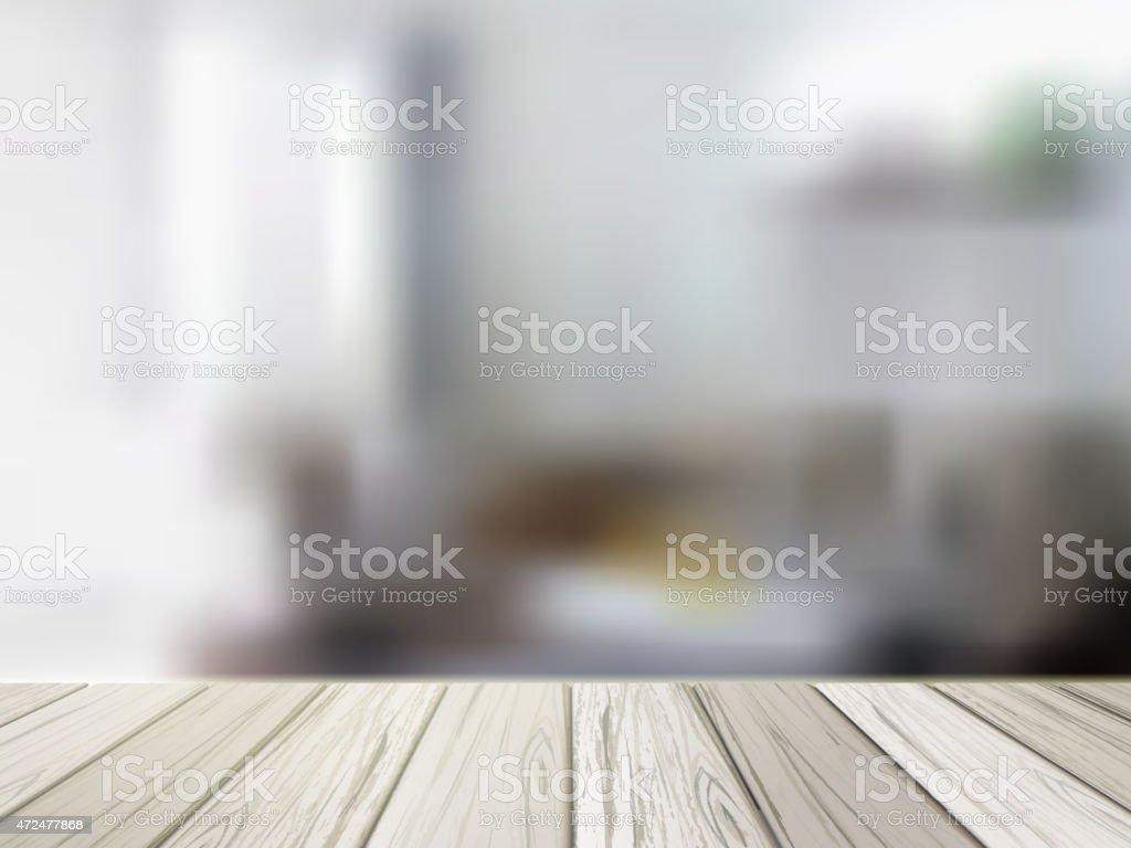 wooden table over blurred kitchen scene vector art illustration