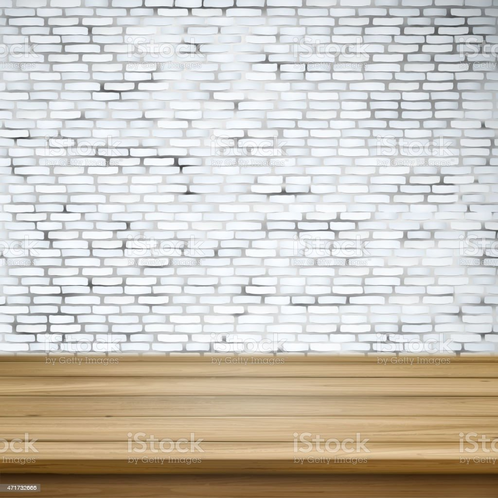 wooden table over white brick wall vector art illustration